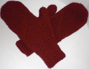Handknit burgundy mittens before string