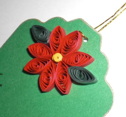 Xmas gift tags quilled poinsettias i