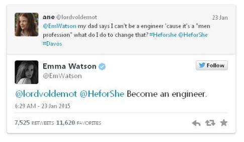 Emma Watson - become an engineer