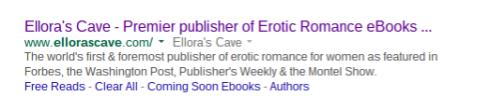 Google search for Ellora's Cave