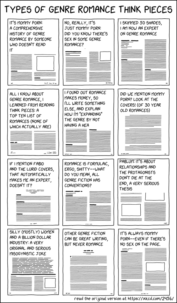 """Types of genre romance think pieces, showing twelve such papers, with the following titles: """"it's mommy porn: a comprehensive history of genre romance by someone who doesn't read it""""; """"No, really, it's just mommy porn: did you know there's sex in some genre romance?""""; """"I skimmed 50 Shades, I am now an expert on genre romance""""; """"All I know about romance, I learned from reading think pieces: a top ten list of romances (none of which actually are)""""; """"I found out romance makes money, so I'll write something else , and explain how I'm 'expanding' the genre by not having a HEA""""; """"Did we mention mommy porn? Look at the covers! (of 30 year old romances)""""; """"If I mention Fabio and mention the lurid covers, that automatically makes me an expert, doesn't it?""""; """"Romance is formulaic, ergo, shitty--what do you mean, all genre fiction has conventions?""""; """"Pablum: it's about relationships and the protagonists don't die at the end, a very serious thesis""""; """"Silly (mostly) women and a billion dollar industry: a very original and misogynistic joke""""; """"Other genre fiction can be great writing, but never romance"""", and """"It's always mommy porn--even if there's no sex on the page"""""""